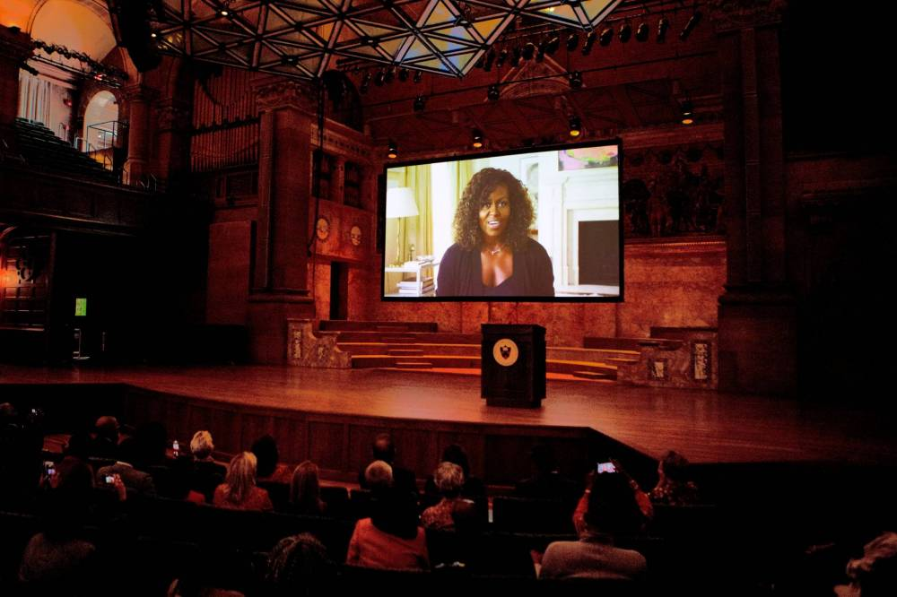 Michelle Obama's video address projected on stage