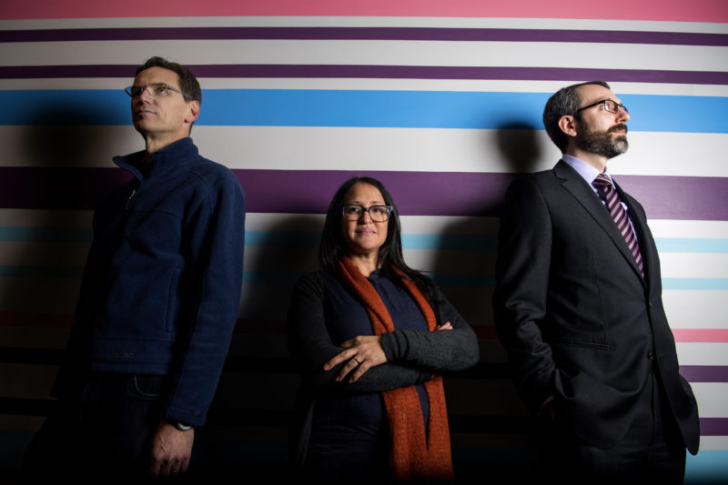 Architecture Professors Peter Wiederspahn, Michelle Laboy, and David Fannon pose for a portrait in Ryder Hall on Dec. 11, 2018. Their work will be on exhibit at the A+D Museum in Los Angeles. Photo by Matthew Modoono/Northeastern University