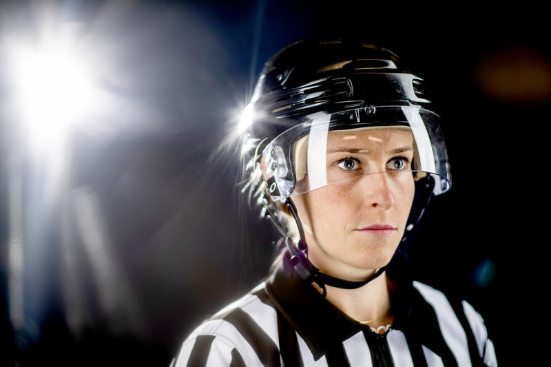 Northeastern graduate Kelly Cooke became one of the first women to referee an NHL preseason event. Will she be working in the NHL itself someday? Photo by Matthew Modoono/Northeastern University