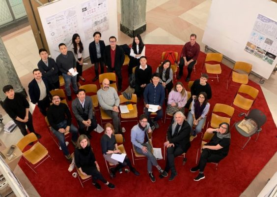 aerial shot of architecture students and faculty