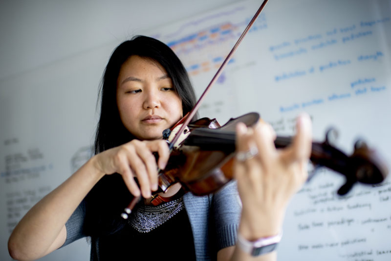Psyche Loui, an assistant professor of creativity and creative practice at Northeastern, is studying how music could be used to help people focus better or recover certain faculties that were compromised by memory loss. Photo by Matthew Modoono/Northeastern University
