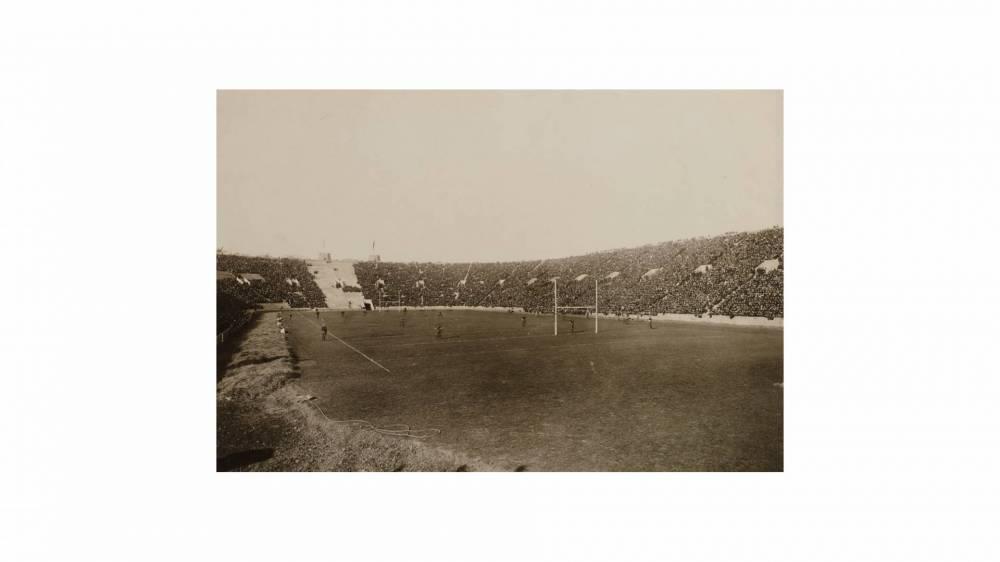archival photo of football field