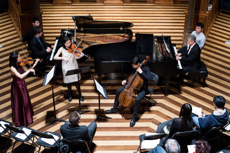 Chamber music ensemble, as seen from a high vantage point