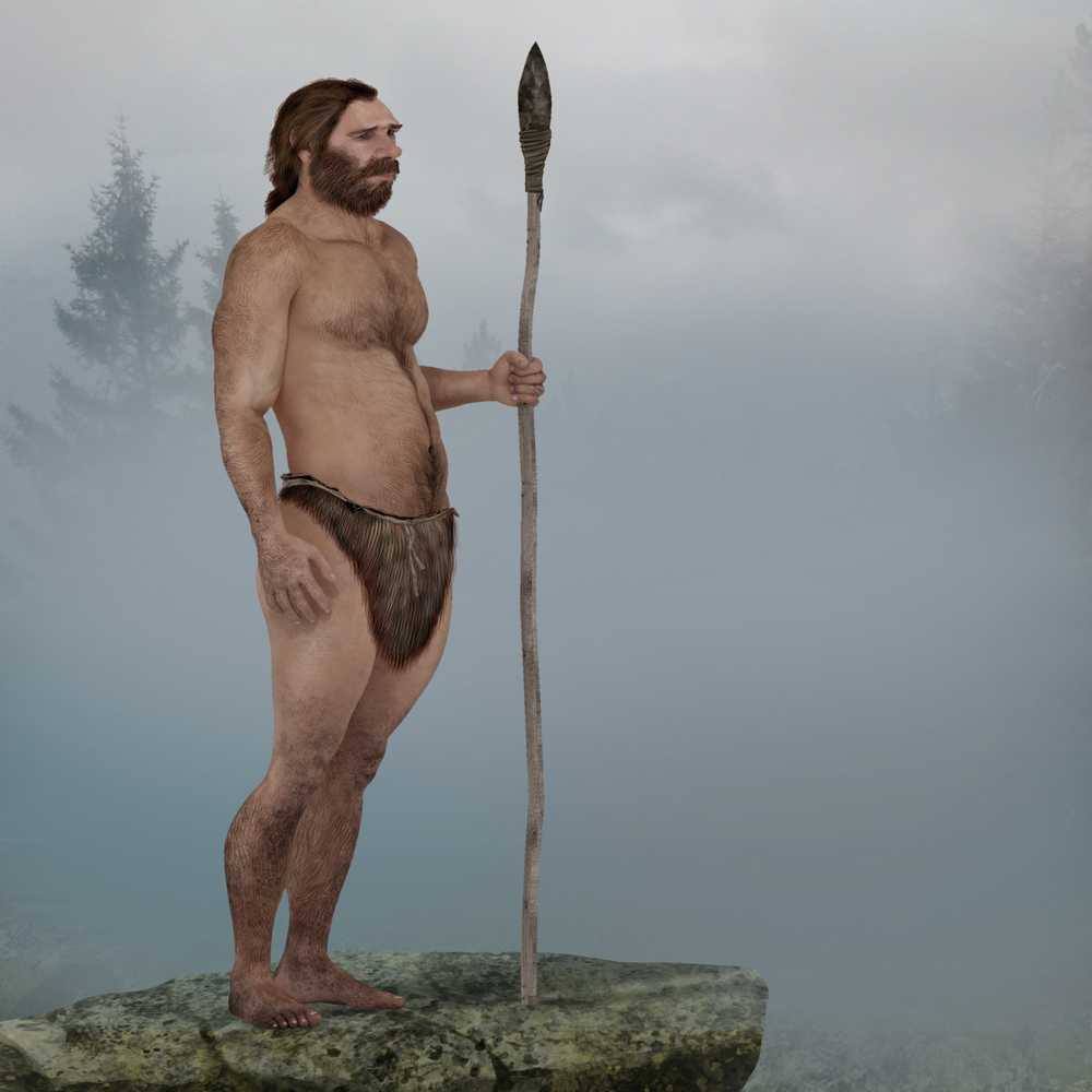 male neanderthal with spear