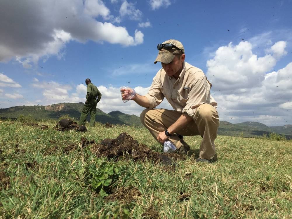Researchers take dung samples