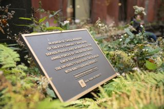 plaque in Schwartz plaza dedicated to those in the NYU community who have served in the military
