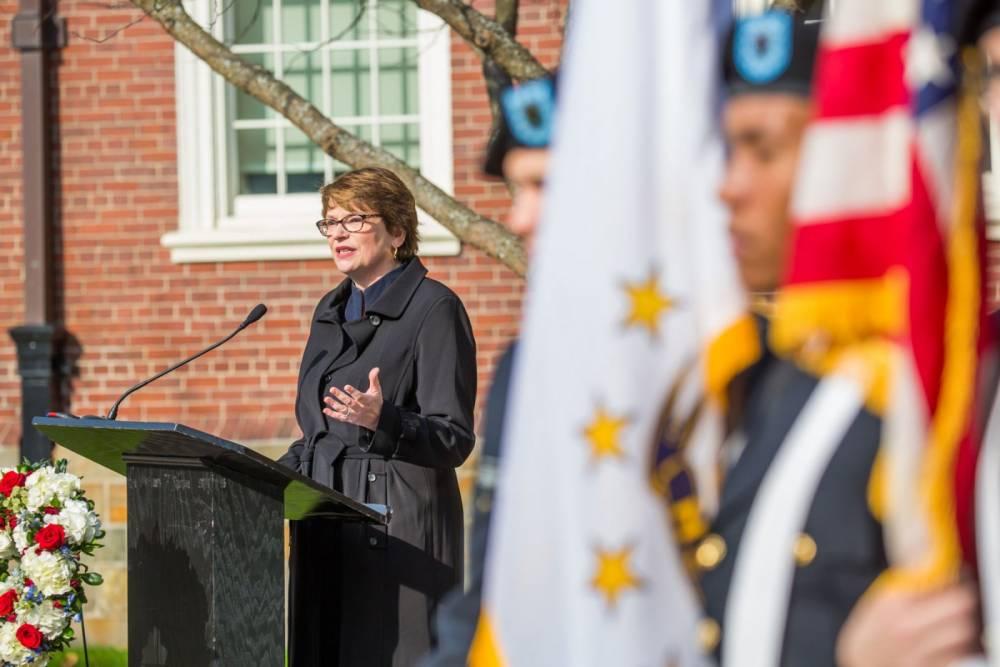 Christina Paxson at Veterans Day ceremony