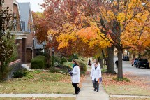 Physicians go door to door Nov. 7 in south St. Louis to collect signatures for Medicaid expansion into Missouri. (Photo: Matt Miller/Washington University)