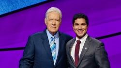 Sathvik Namburar, Geisel '22, and Jeopardy! Host Alex Trebek on the show set.