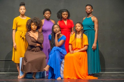 """The cast of Ntozake Shange's """"for colored girls who have considered suicide/when the rainbow is enuf."""" (Photo: Danny Reise/Washington University)"""