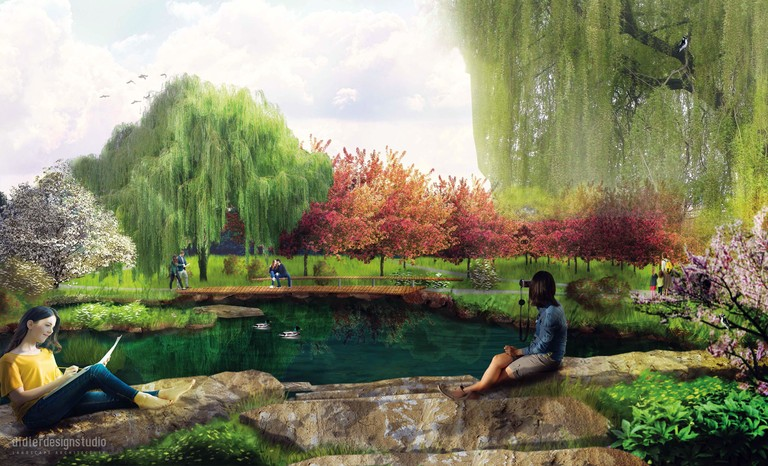 Arboretum Pollinator and Bird Garden rendering - pond