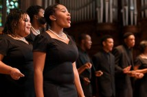 "Members of the Normandy High School Chorale perform during the ""Four Hundred Years Forward – Freedom in Our Time"" lecture on Nov. 10 in Graham Chapel. (Photo: Michael Thomas/Washington University)"