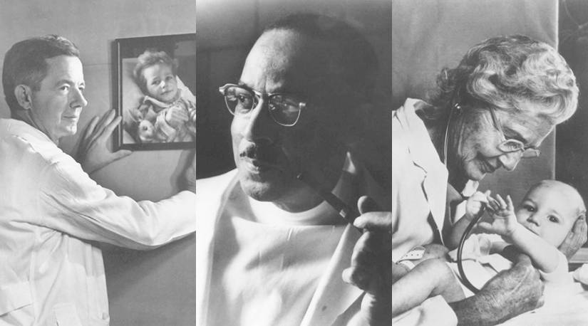 Composite image of Alfred Blalock, Vivien Thomas, and Helen Taussig