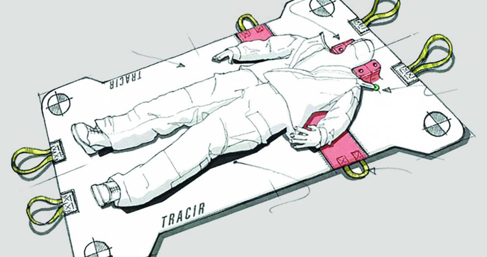 a sketch of the backpack in stretcher mode, with a person/dummy lying on it