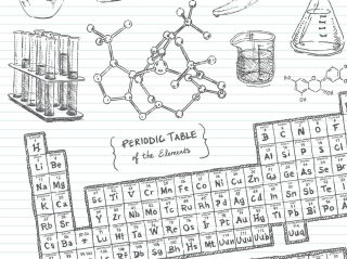 Hand-drawn doodle pencil sketch of various subjects covered in a Chemistry lab or class. Items included: beakers, Periodic Table of the Elements, test tubes, and chemistry equations.