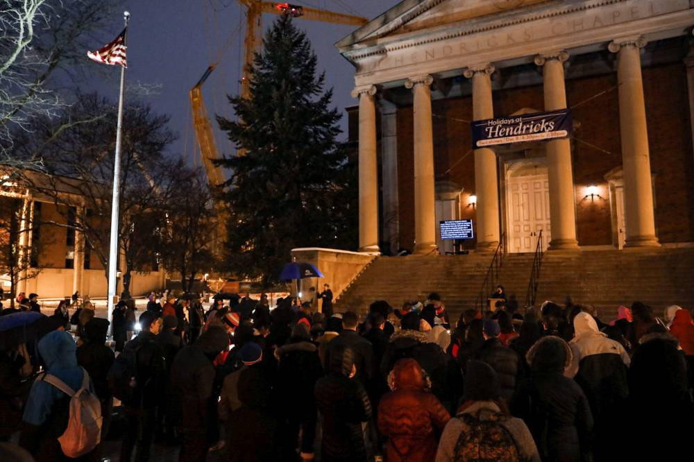 people gathered in front of Hendricks Chapel