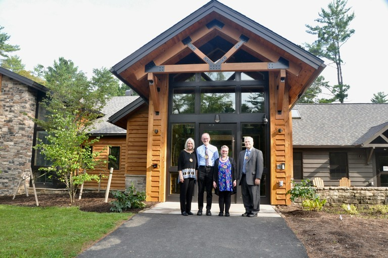 Mary Ellen and Tom Litzinger, Penn State President Eric Barron and his wife, Molly, at Shaver's Creek Environmental Center