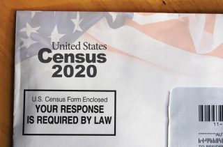 A stock photo of a 2020 Census envelope