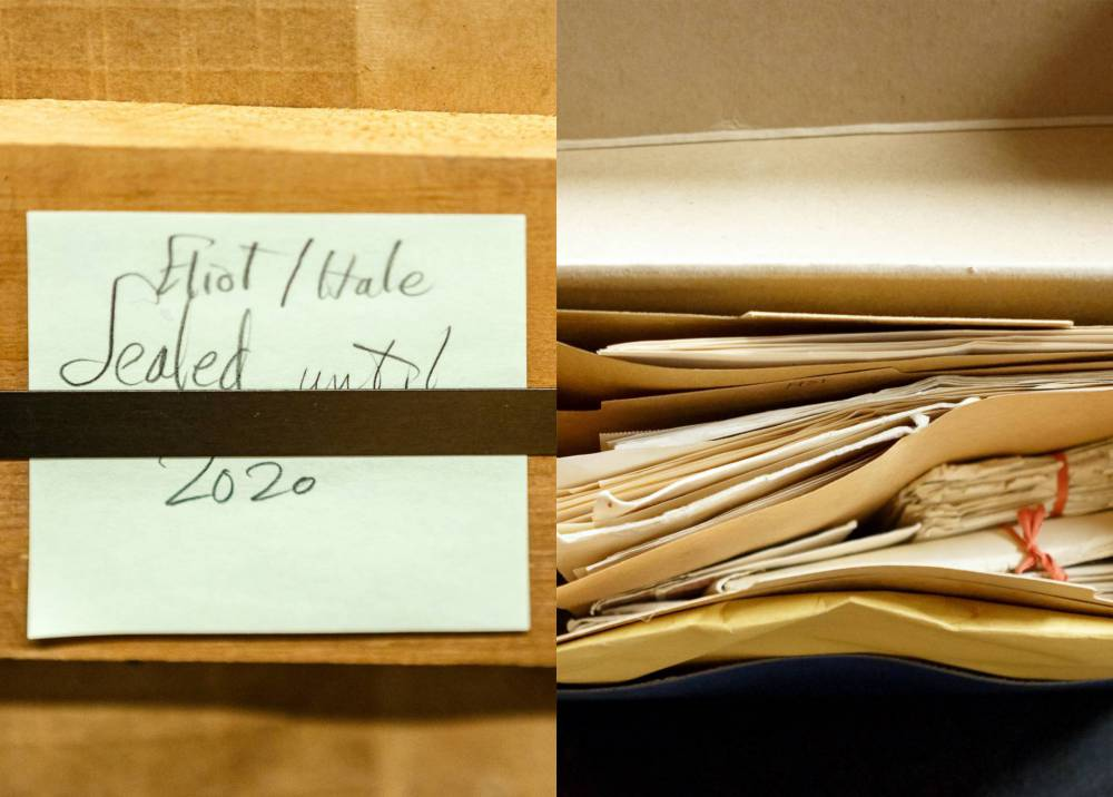 """A post-it note on a box that reads, """"Eliot/Hale, sealed until 2020"""" and a top view of a box full of papers"""