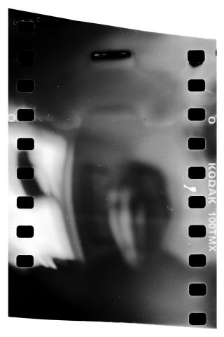 Black and white silhouette on film
