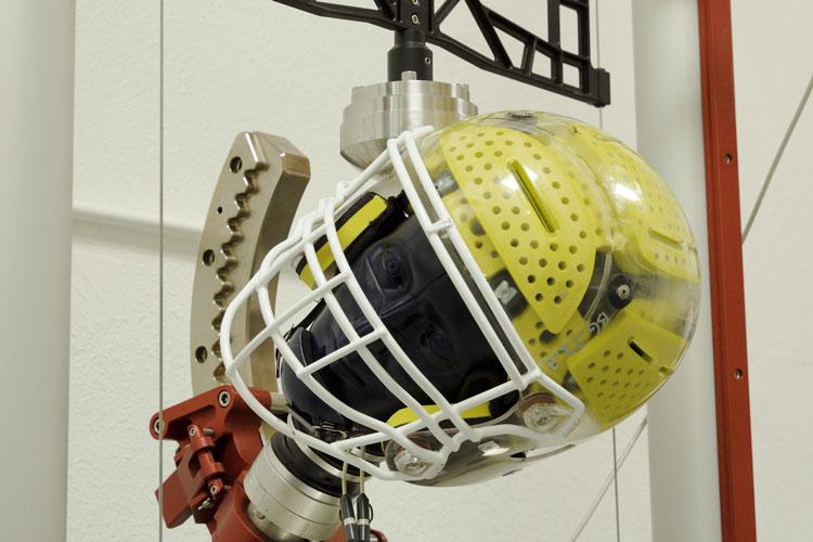 helmet being tested