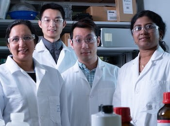Rice University researchers -- from left, Sibani Lisa Biswal, Botao Farren Song, Quan Anh Nguyen and Anulekha Haridas -- built full lithium-ion batteries with silicon anodes and an alumina layer to protect cathodes from degrading. By limiting their energy density, the batteries promise excellent stability for transportation and grid storage use. (Credit: Jeff Fitlow/Rice University)