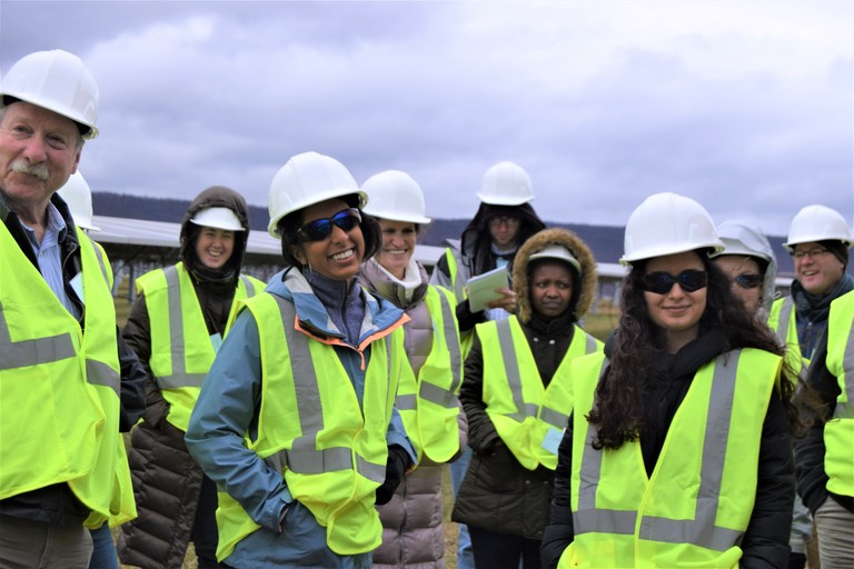LandscapeU field trip participants at the solar farm.