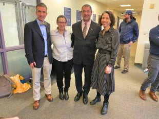 From left: Matthias Henze, director of the Program in Jewish Studies; Paula Sanders, director of the Boniuk Institute; Consul General Gilad Katz; and Melissa Weininger, associate director of the Program in Jewish Studies.