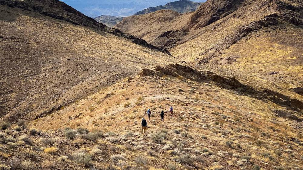 Students stand among the mountains of the Nopah Range Wilderness Area