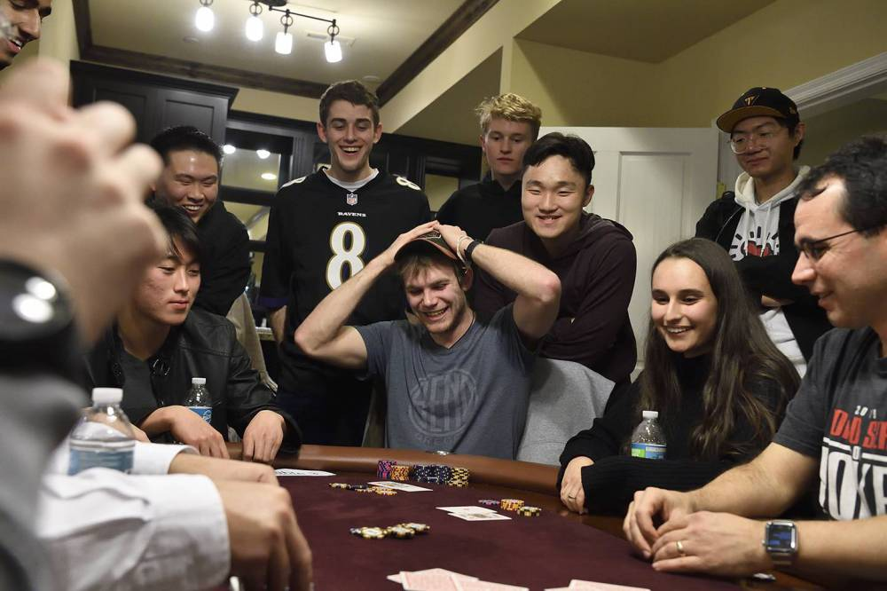 A student gets a bad hand in poker