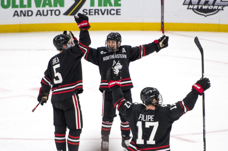 The Huskies survived a hard final period to beat Harvard, 3-1, in the Beanpot semifinal on Monday at TD Garden.  Photo by Matthew Modoono/Northeastern University