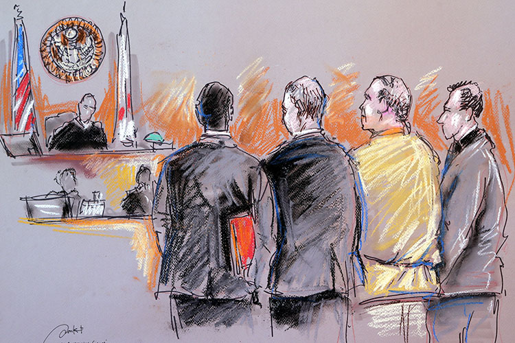 A sketch featuring a defendant and court personnel standing before a judge