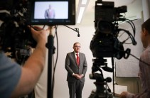 Chancellor Andrew D. Martin participates in a video project during the 2020 Day of Dialogue & Action. (Photo: James Byard/Washington University)