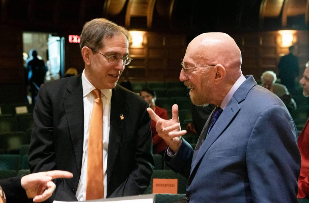 Thorne speaks with Princeton President Christopher L. Eisgruber