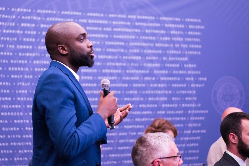Oriteme Banigo spoke at the Northeastern Global Leadership Summit in Paris in July, 2018. Photo courtesy of Orieme Banigo