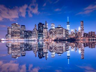 Manhattan skyline at dusk.