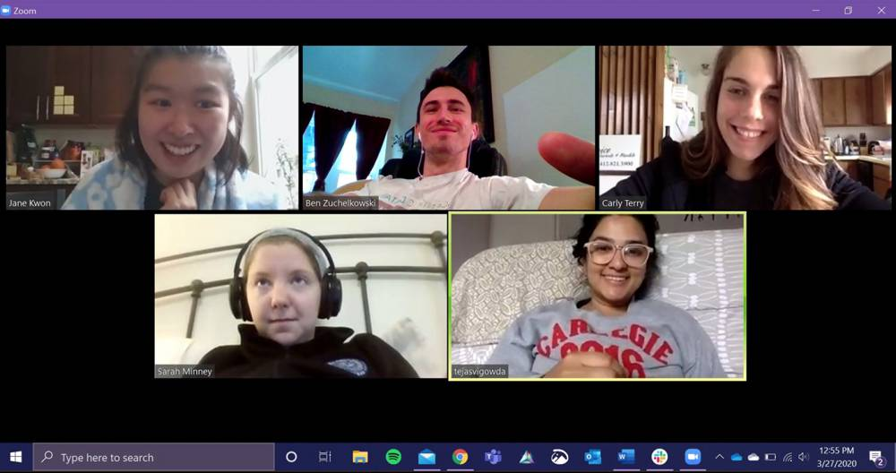 A Zoom video conference call with five medical students present