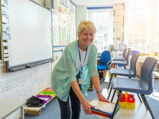 Teacher in her classroom.
