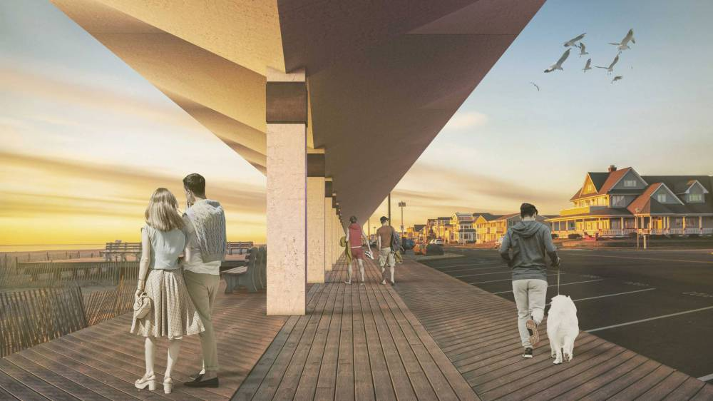 Artist's rendering of a pedestrian area under an umbbrella structure