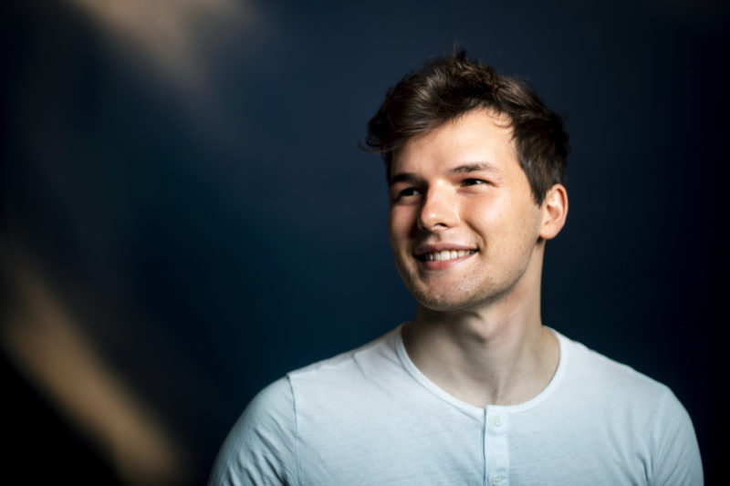 Jake Potts, a bioengineering student at Northeastern, has been awarded a Fulbright scholarship, which he will use to study mutations in DNA repair genes at Sorbonne University in Paris. Photo by Ruby Wallau/Northeastern University