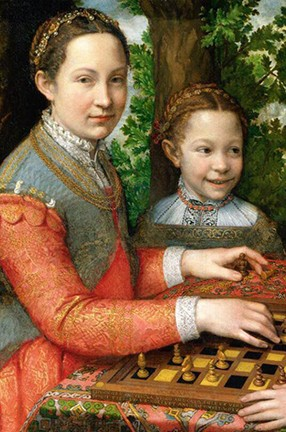 "A detail of ""The Chess Game,"" circa 1555, by Sofonisba Anguissola: A paintining of a woman and a young girl sitting in a wooded area wearing colorful clothing that might have been worn during the 1500s. The woman has a chessboard with chess pieces, one of which she is holding in her hand."