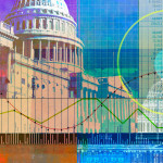 Illustration of stock market and Capitol.