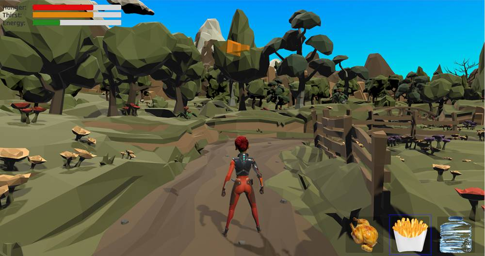 a screen cap from a video game, where a person is walking through a rocky area