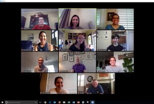 Doerr Institute for New Leaders team members are meeting via video conference. (Screenshot courtesy of the Doerr Institute)