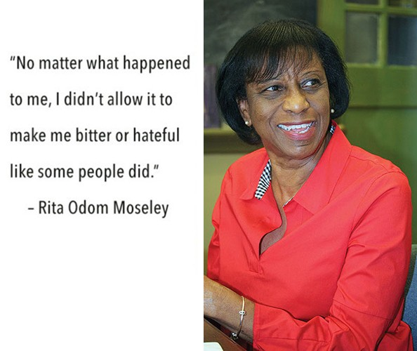 A quote juxtaposed next to an elderly African American woman smiling.