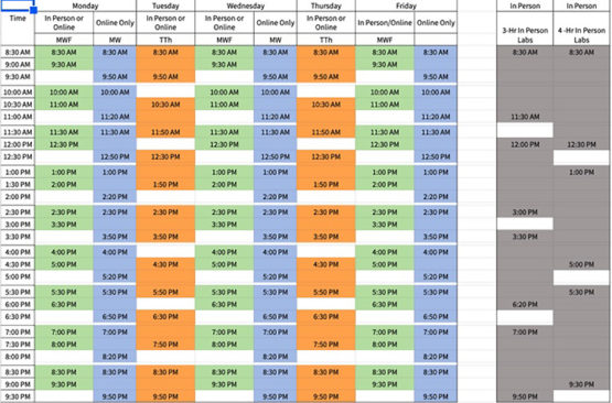 New daily course meeting schedule