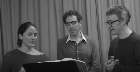 Thomalla (far right) rehearsing 'Dark Spring' with Pierson and a performer