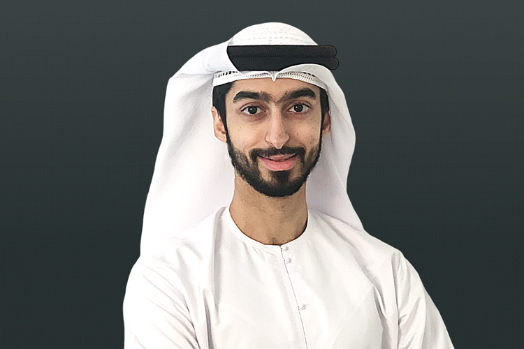 Former UAE student Khalid Al Awar in traditional white dishdasha