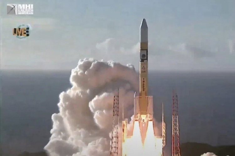 A rocket launching from site in Japan