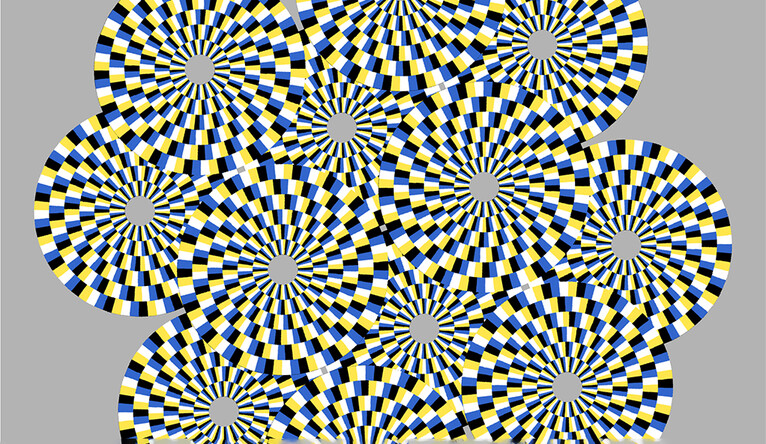 Optical illusion: In this stationary image, viewers should see the circles rotating in different directions